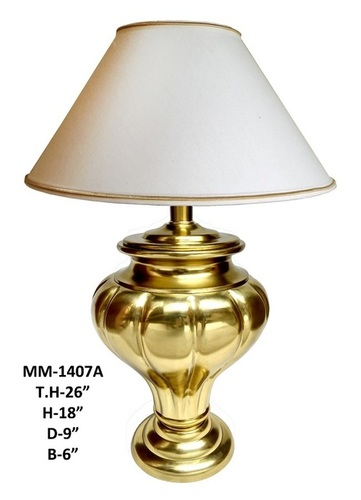 Brass Decorative Table Lamp with white Shade