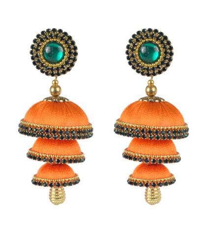 Orange Silk Thread Jhumka Earrings
