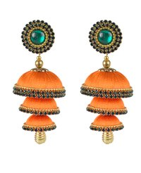 Orange Silk Thread Jhumka Earrings