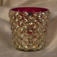 SILVER PINK GLASS T-LIGHT VOTIVE