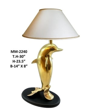 Brass Fish Lamp with Metal Base