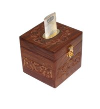 Wooden Square Shape Money Bank