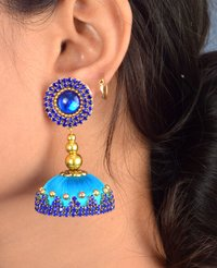 Latest Design Silk Thread Sky Stone Earrings