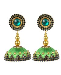 Latest Design Silk Thread Green Stone Earrings