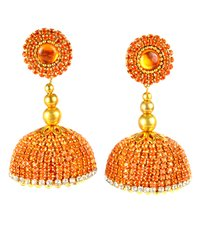 Silk Thread Orange Stone Earrings