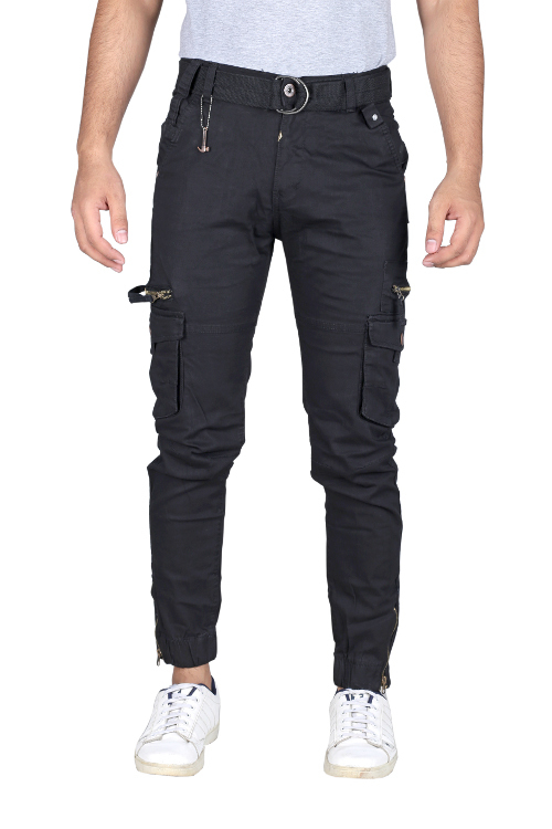 Men Regular Fit Black Cargo Pant