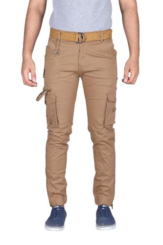 Male Beigea  Stretch 6 Pocket Cargo Pants