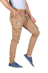 Male Beige‑Stretch 6 Pocket Cargo Pants