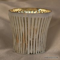 SILVER GLASS WHITE COLOR CANDLE HOLDER