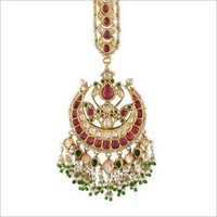 Ruby Stone Beaded Maang Tikka