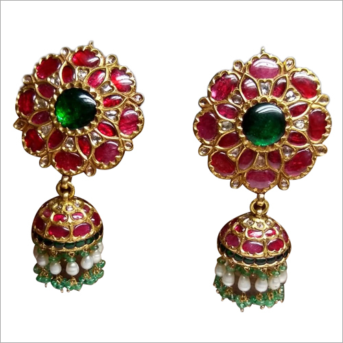 Ladies Stone Studded Jhumka Earrings Set