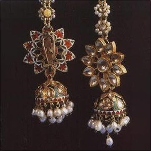 Kundan Meena Jhumka Earrings Set