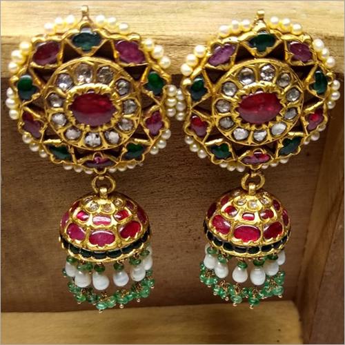 Kundan Ruby Stone Jhumka Earrings Set