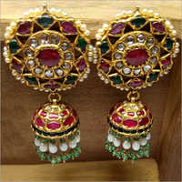 Kundan Ruby Stone Jhumka Earrings Set