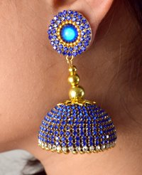 Handmade Silk Thread Stone Jhumka Earrings
