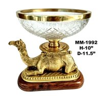 Brass Camel Collection Glass Bowl With Wood Base