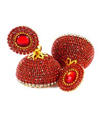 Latest Silk Thread Red Stone Jhumka Earrings