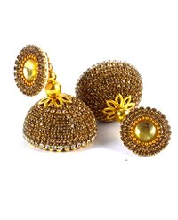 Latest Silk Thread Golden Stone Earrings