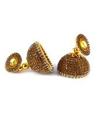 Latest Silk Thread Golden Stone Earrings