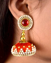 Latest Design Beaded Silk Thread Earrings