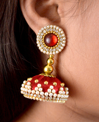 Fashion Design Beaded Silk Thread Earrings