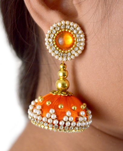 Handmade Orange Silk Thread Beaded Earrings