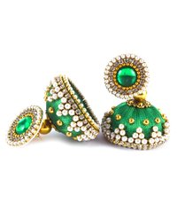 Latest Design Green Beaded Silk Thread Earrings