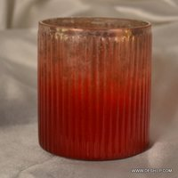 ORANGE COLOR GLASS CANDLE HOLDER