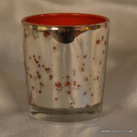 SILVER T LIGHT RED GLASS CANDLE VOTIVE
