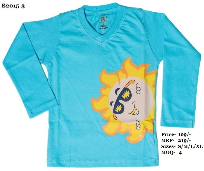 Kids Sun design printed T shirts - Pink/ Sky Blue/ Yellow - V Neck, Full Sleeve