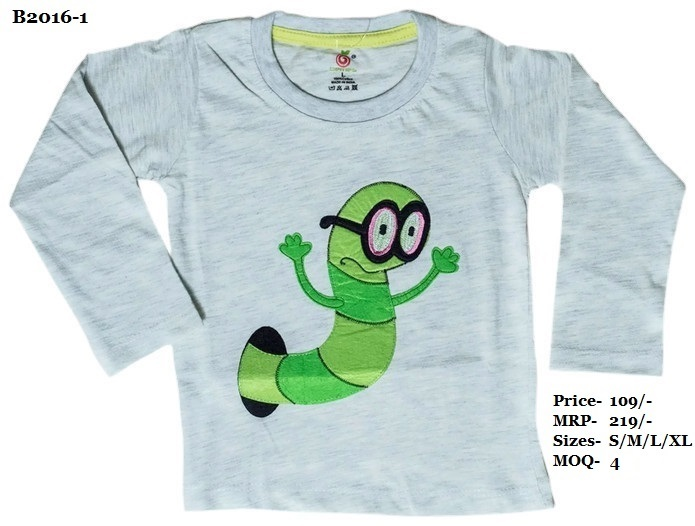 Kids Caterpillar Embroidery Design T-shirts - Melange/ Yellow/ L. Blue - Round Neck, Full Sleeve