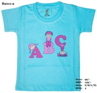 Kids ABC design Printed Tshirts - White/Sky Blue/L. Green - Round Neck/Half Sleeve