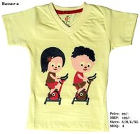 Kids Boy-Girl design print T Shirts - L. Blue/Pink/Yellow - V Neck, Half Sleeve