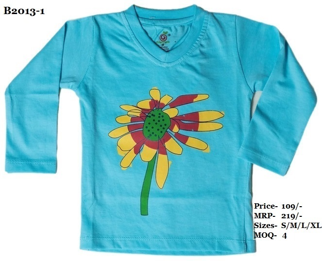 Kids Flower design printed Tshirts - Pitch/ Sky Blue/ L. Green - V Neck, Full Sleeve