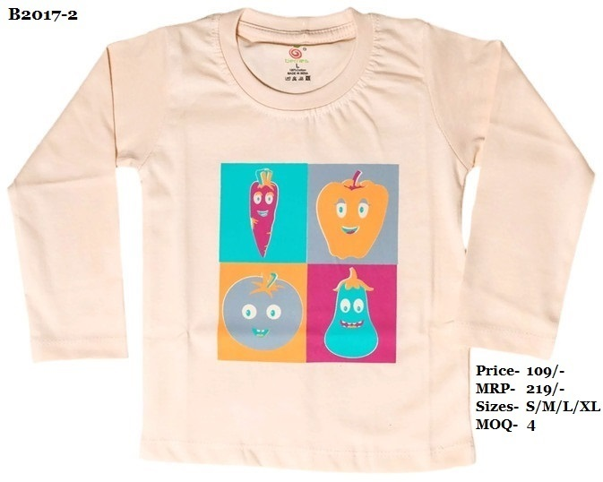 Kids Vegetable Design Printed T-Shirts - Peach/ Yellow/ L. Green - Round Neck, Full Sleeve
