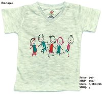 Kids Children Design Print T-Shirts - Melange/ L. Green/ Pink - V Neck, Half Sleeve