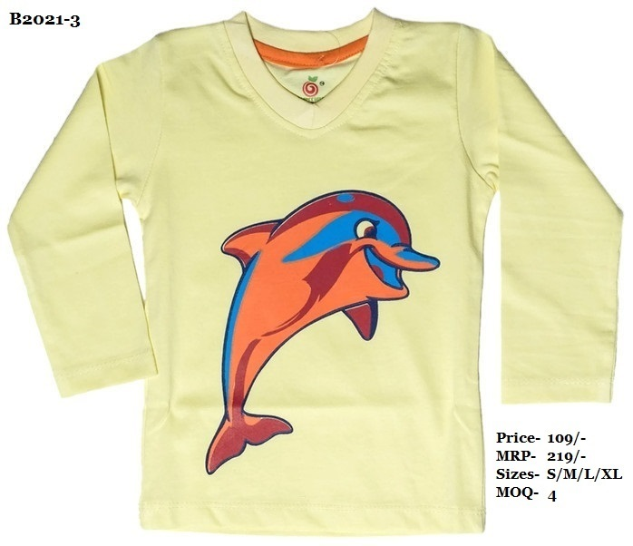 Kids Dolphin Design Printed T-shirts - N. Blue/Peach/Yellow - V Neck, Full Sleeve
