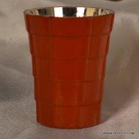 ORANGE GLASS SILVER CANDLE VOTIVE