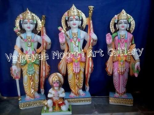 Ram Darbar Marble Statue With Sitting Hanuman