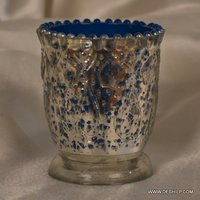 ANTIQUE SILVER FINISH GLASS CANDLE VOTIVE