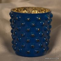 DOTTED GLASS SILVER CANDLE HOLDER