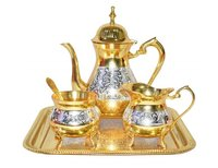Mughal Style Brass Gold & Silver Tea Coffee Set