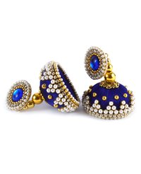 Latest Design Blue Beaded Silk Thread Earrings