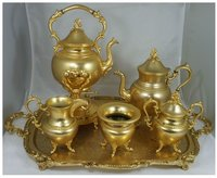Gold Silver Plated Copper Tea Set