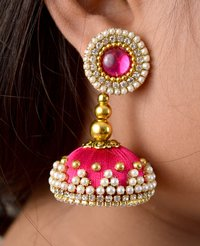 Latest Design Pink Beaded Silk Thread Earrings
