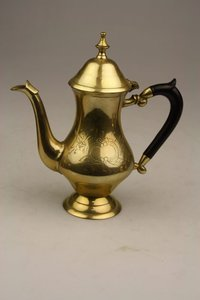 Brass Coffee & Tea Set on Silver Plated Tray