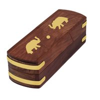 Pencil Box Pen Storage Box Case Geometry Holder-Wooden Embossed By Craft Art India