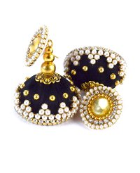 Latest Design Black Beaded Silk Thread Earrings