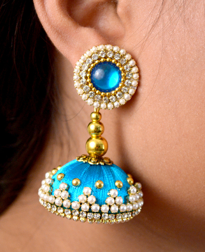 Latest Design Sky Beaded Silk Thread Earrings