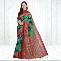Mysore Silk Airawat Print Saree In MultiColor